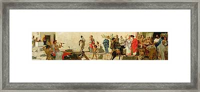 A Roman Street Scene With Musicians And A Performing Monkey Framed Print