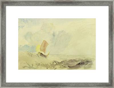 A Sea Piece  A Rough Sea With A Fishing Boat Framed Print by Joseph Mallord William Turner
