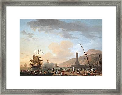A Seaport At Sunset Framed Print by Claude-Joseph Vernet