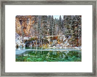 Olena Art Serene Chill Hanging Lake Photograph The Gem Of Glenwood Canyon Colorado Framed Print