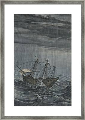 A Ship In A Stormy Sea Framed Print by Celestial Images