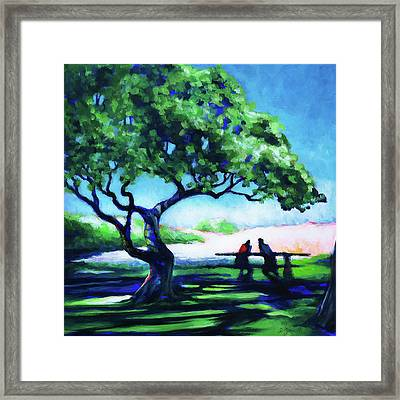 Framed Print featuring the painting A Spot Of Sun by Angela Treat Lyon