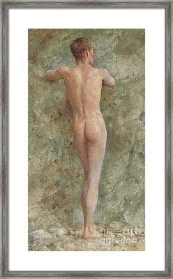 A Standing Male Nude Framed Print