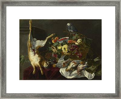 A Still Life With Fruit Dead Game And A Parrot Framed Print
