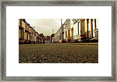 A Street Of Derelict Houses Ready For Demolition Digital Painting Framed Print