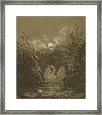 A Swan Among The Reeds, By Moonlight Framed Print by Carl Gustav Carus