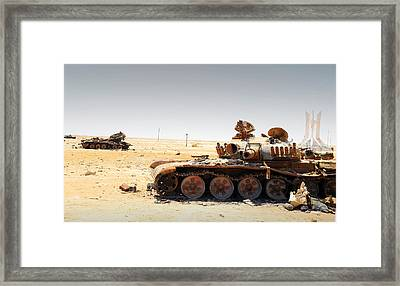 A T-80 Tank Destroyed By Nato Forces Framed Print
