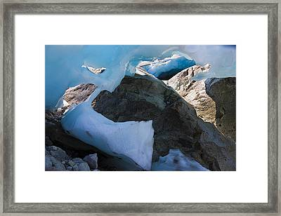 A View Of The Blue Ice Inside A Glacier Framed Print