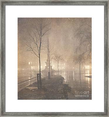 A Wet Night  Columbus Circle Framed Print by William Fraser