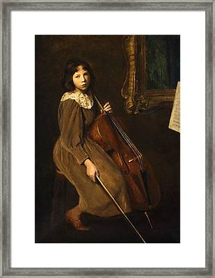 A Young Violoncellist Framed Print by Lilla Cabot Perry