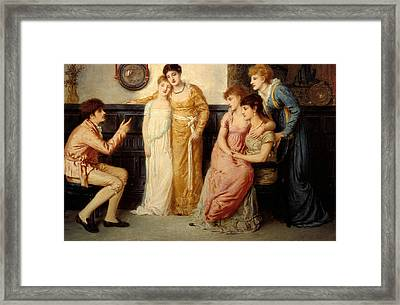 A Youth Relating Tales To Ladies Framed Print by Simeon Solomon