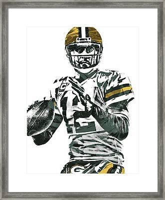 Aaron Rodgers Green Bay Packers Pixel Art 4 Framed Print