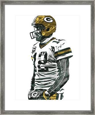 Aaron Rodgers Green Bay Packers Pixel Art 5 Framed Print by Joe Hamilton