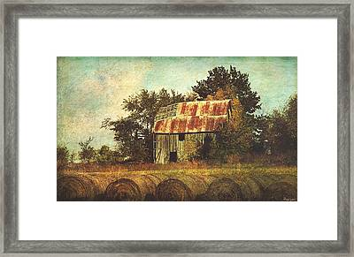Abandoned Countryside Barn And Hay Rolls Framed Print