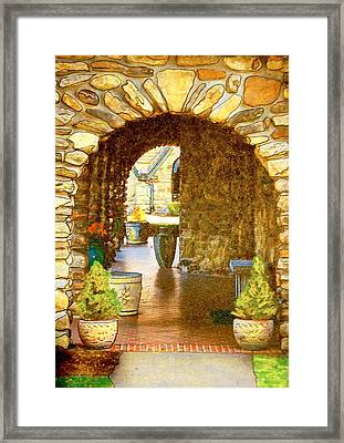 Abbey Stone Arch Framed Print by Linda Bourie