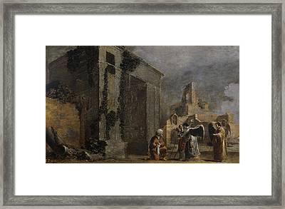 Abraham And The Three Angels Framed Print by Leonaert Bramer