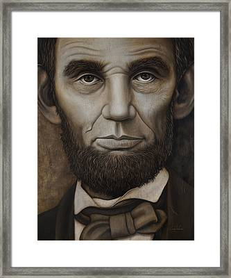 Abraham Lincoln On Wood Framed Print