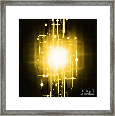 Abstract Circuit Board Lighting Effect  Framed Print