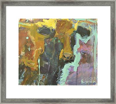 Framed Print featuring the painting Abstract Cow Painting by Robert Joyner