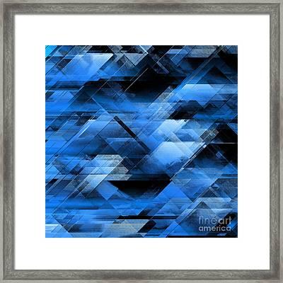Abstract Geometric Blue Framed Print