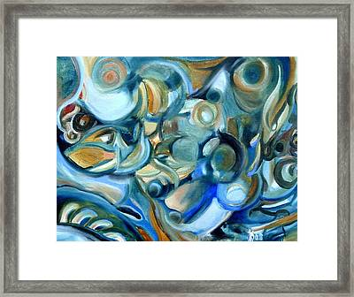 Abstract In Blue Framed Print by Kathy Dueker