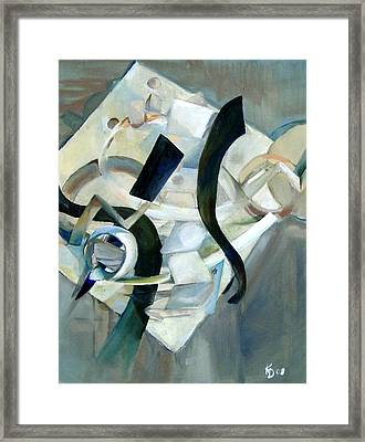 Abstract In Gray Framed Print by Kathy Dueker