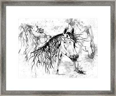 Abstract Ink - Black And White Arabian Horse Framed Print by Michelle Wrighton