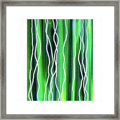 Abstract Lines On Green Framed Print by Irina Sztukowski