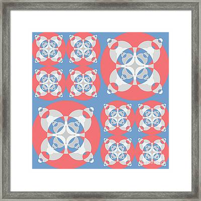 Abstract Mandala White, Pink And Blue Pattern For Home Decoration Framed Print by Pablo Franchi