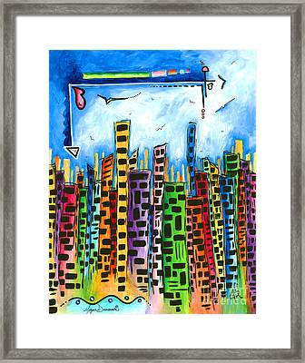 Abstract Pop Art Style Unique Cityscape Skyline Painting By Megan Duncanson Framed Print by Megan Duncanson