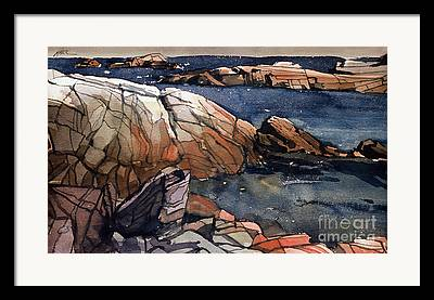 Maine Beach Paintings Framed Prints