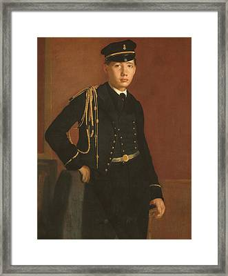 Achille De Gas In The Uniform Of A Cadet Framed Print by Edgar Degas