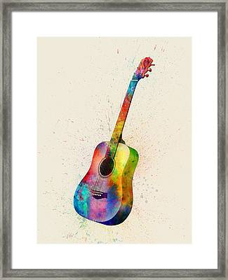 Acoustic Guitar Abstract Watercolor Framed Print
