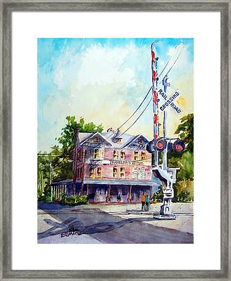 Framed Print featuring the painting Across The Tracks by Ron Stephens