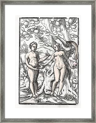 Adam And Eve In The Garden Of Eden From Framed Print by Vintage Design Pics