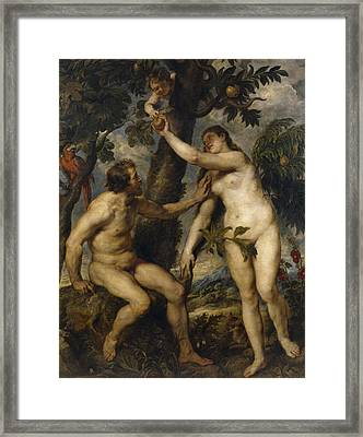 Adam And Eve Framed Print by Rubens