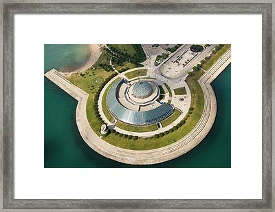Framed Print featuring the photograph Adler Planetarium Aerial by Adam Romanowicz
