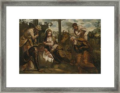 Adoration Of The Shepherds Framed Print by Giovanni Galizzi