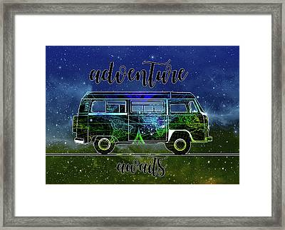 Adventure Awaits World Map Design 6 Framed Print