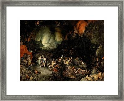 Aeneas And Sibyl In The Underworld Framed Print by Jan Brueghel the Elder