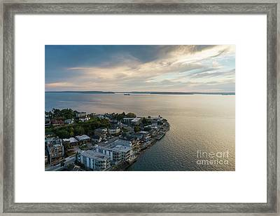 Aerial Alki Point Sunset Framed Print by Mike Reid