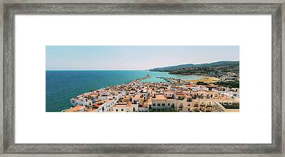 Aerial Panoramic View From Papa Luna Castle Of Peniscola City In Spain Framed Print by Radu Bercan