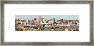 Aerial View Of A City, Cincinnati Framed Print by Panoramic Images