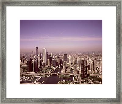 Aerial View Of Chicago, Illinois. The Black Skyscraper Is Willis Tower, A Chicago Landmark,  Highsmi Framed Print by Celestial Images