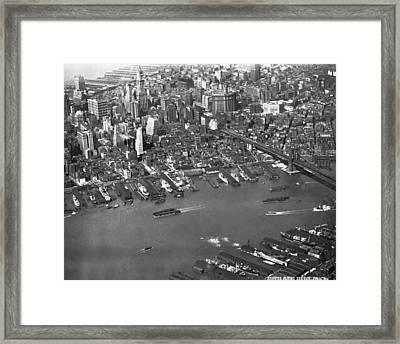Aerial View Of Lower Manhattan Framed Print