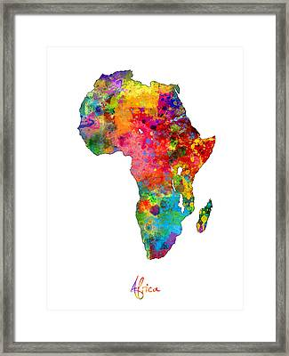 Africa Watercolor Map Framed Print