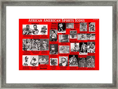 African American Sports Icons Poster Framed Print