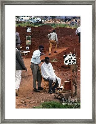 African Barbershop Framed Print