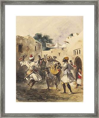 Africans Dancing In The Street Framed Print by Eugene Delacroix