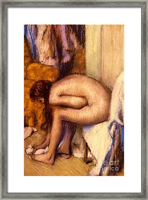 After The Bath Framed Print by Edgar Degas